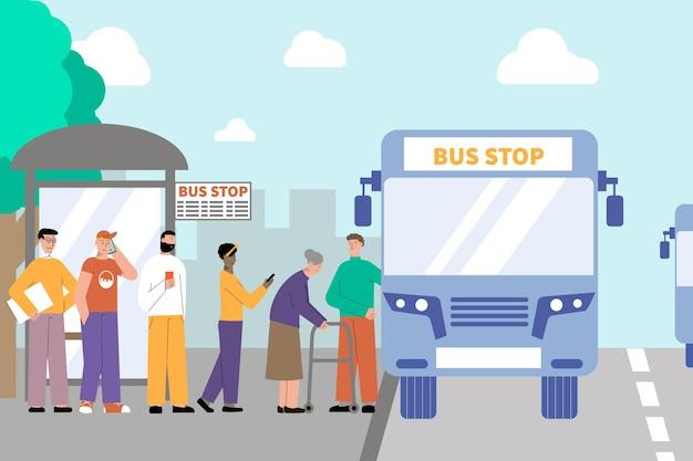 Ilustração plana do transporte de pessoas