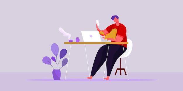 Ilustração plana do vetor trabalhar a partir do conceito de trabalho em casa e do conceito de trabalho inteligente on-line para conectar-se em qualquer lugar