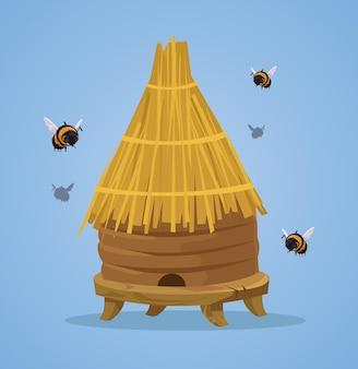 Ilustração plana dos desenhos animados da colmeia de abelhas