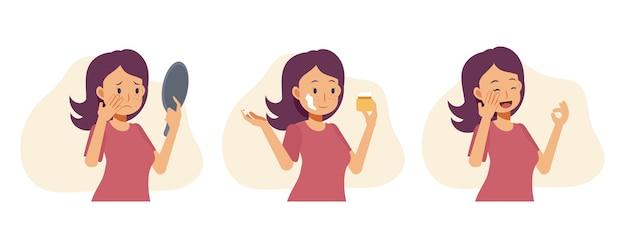 Ilustração plana dos desenhos animados da mulher está preocupada com a pele, acne, espinhas, cravos e pele saudável. usando máscara facial, creme e obtendo bom resultado.