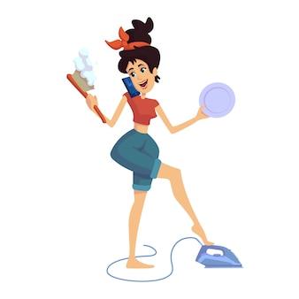 Ilustração plana dos desenhos animados de dona de casa