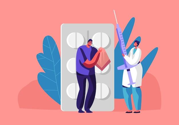 Ilustração plana dos desenhos animados do conceito de doença ou doença