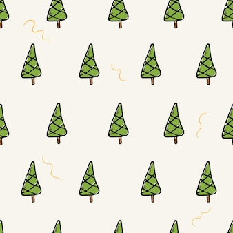 Ilustração plana dos desenhos animados em vetor. padrão sem emenda com doodle ícones de árvores de natal. fundo de decorações de ano novo.