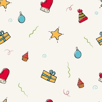 Ilustração plana dos desenhos animados em vetor. padrão sem emenda com ícones de doodle de natal. fundo de decorações de ano novo.