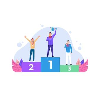 Ilustração plana dos vencedores do pódio