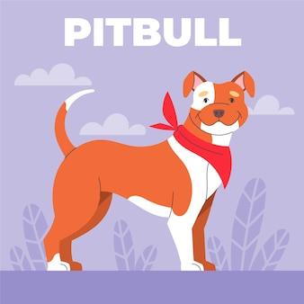 Ilustração plana e criativa de pitbull