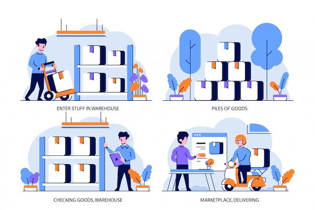 Ilustração plana e estilo de design de contorno, armazém no mercado, pilhas de mercadorias, verificação de mercadorias, entrega de coisas