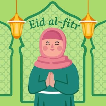 Ilustração plana eid al-fitr