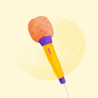 Ilustração plana em vetor adesivo laranja microfone
