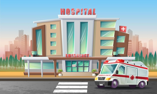 Ilustração plana em vetor desenho animado estilo de edifício de hospital