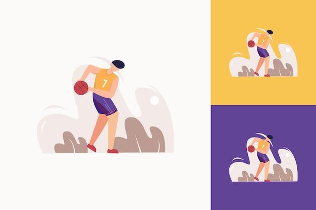 Ilustração plana esporte de basquete