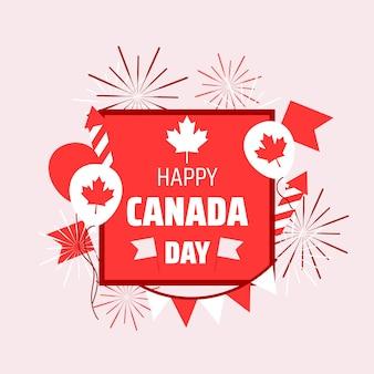 Ilustração plana feliz dia do canadá