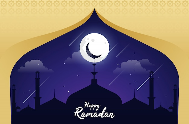 Ilustração plana feliz ramadan