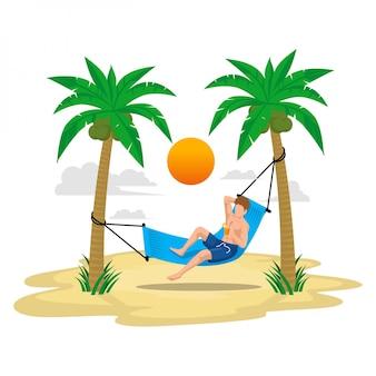 Ilustração plana férias de verão com praia e palmeiras, desfrute da bebida no balanço sob a luz do sol