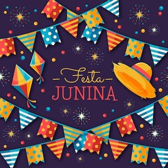 Ilustração plana festa junina