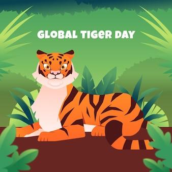 Ilustração plana global do dia do tigre