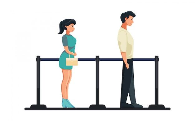Ilustração plana homem e mulher ficar na fila