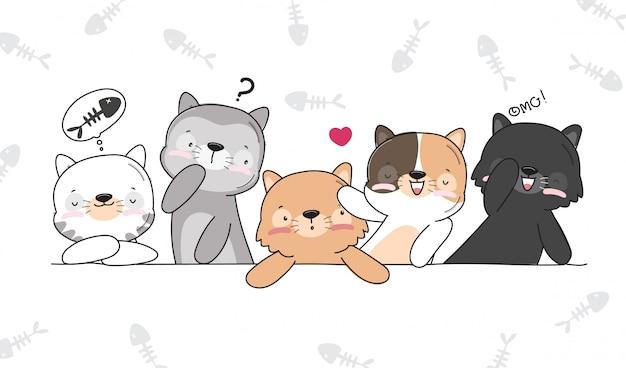 Ilustração plana ilustração de gatinhos fofos