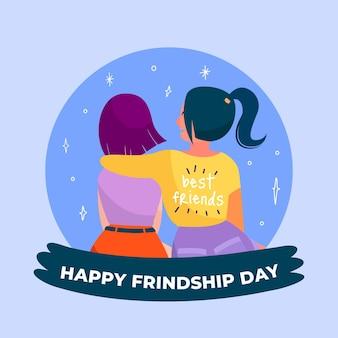 Ilustração plana internacional do dia da amizade