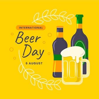 Ilustração plana internacional do dia da cerveja