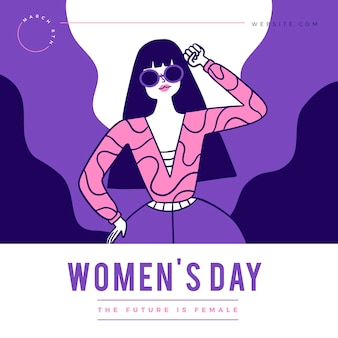 Ilustração plana internacional do dia da mulher
