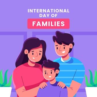 Ilustração plana internacional do dia das famílias
