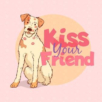 Ilustração plana internacional do dia do beijo com cachorro