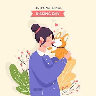 Ilustração plana internacional do dia do beijo