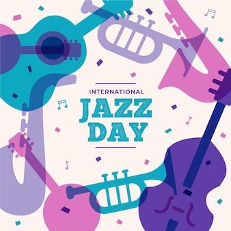 Ilustração plana internacional do dia do jazz