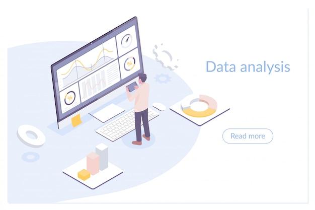 Ilustração plana isométrica moderna de análise de dados
