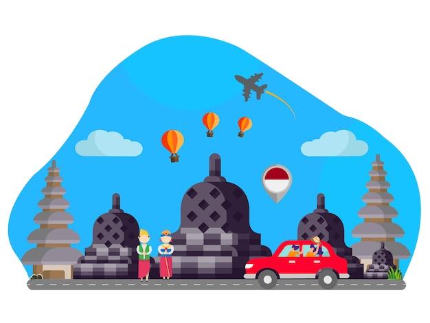 Ilustração plana landmark indonésia