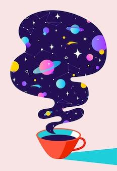 Ilustração plana moderna. banner para café