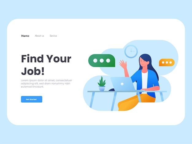 Ilustração plana moderna de um modelo de página de destino de entrevista de emprego