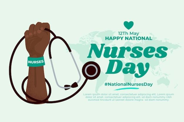 Ilustração plana nacional do dia das enfermeiras