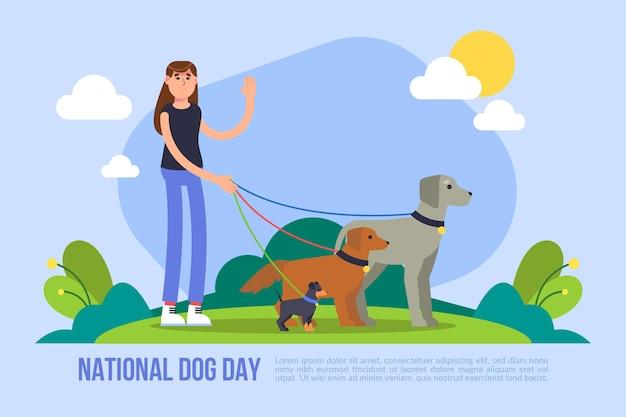 Ilustração plana nacional do dia do cão