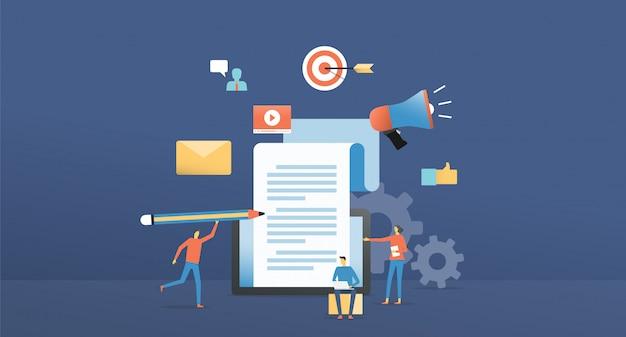 Ilustração plana on-line de marketing de conteúdo