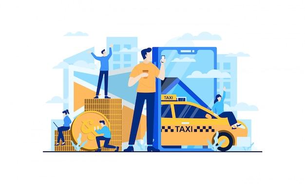 Ilustração plana on-line de táxi