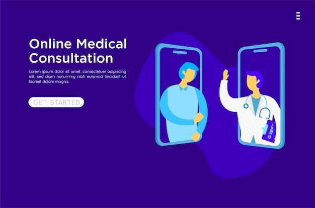 Ilustração plana on-line médico móvel