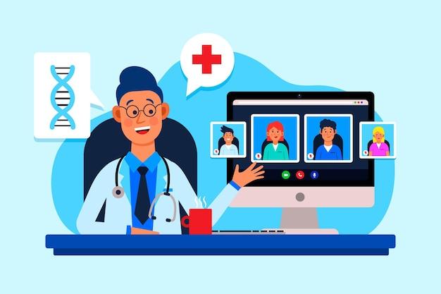 Ilustração plana online de conferência médica