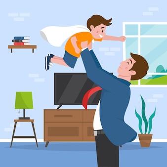 Ilustração plana orgânica do dia dos pais