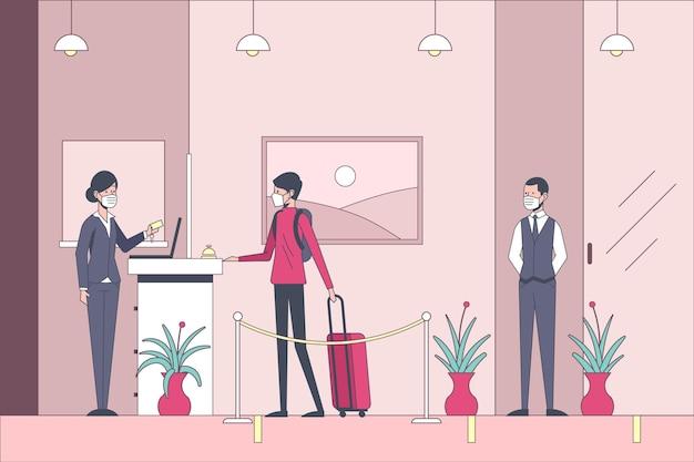 Ilustração plana orgânica nova normal em hotéis