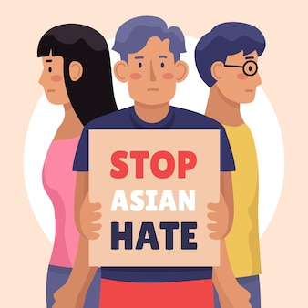 Ilustração plana pare o ódio asiático