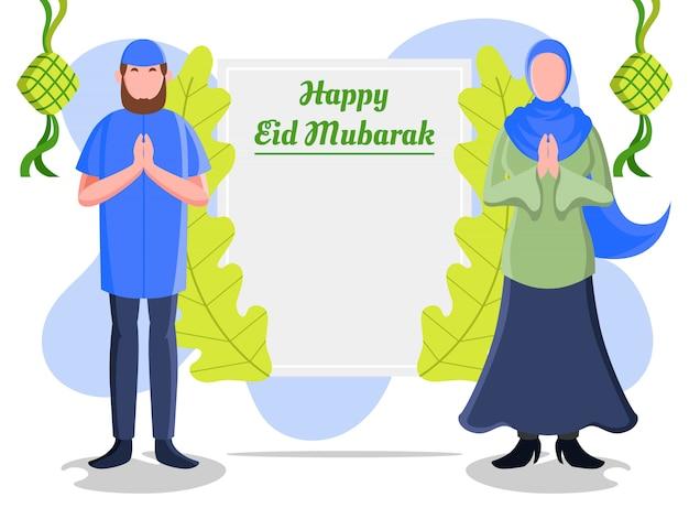 Ilustração plana representando muçulmano homem e mulher mostrando uma placa de saudação para receber eid mubarak com gestos de saudação