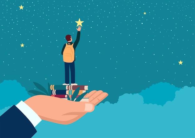 Ilustração plana simples de uma mão de homem levantando um estudante