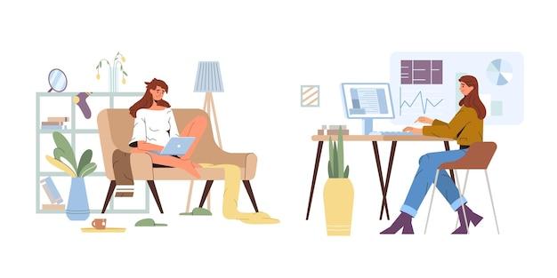 Ilustração plana trabalhando em casa vs. escritório