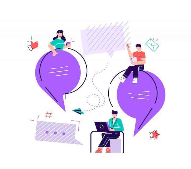 Ilustração plana, um grupo de pessoas se comunica através das redes sociais da internet, o conceito de comunicação, discutindo negócios, notícias, conhecidos. vetor de design moderno estilo simples