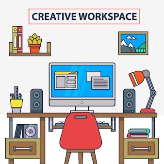Ilustração plana vetor de interior do escritório criativo moderno