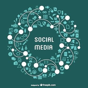 Ilustração plana vetor mídias sociais