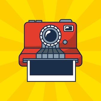 Ilustração polaroid em fundo sunburst