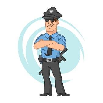 Ilustração, polícia cruzou as mãos e sorrindo, formato eps 10